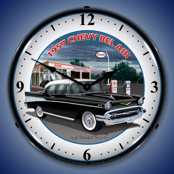 1957 Chevrolet Esso Station Lighted Clock