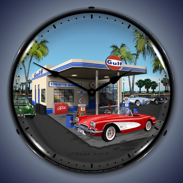 1959 Corvette Gulf Station Lighted Clock