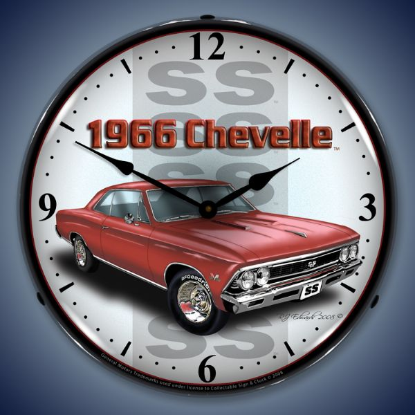 1966 Chevelle Red Lighted Clock