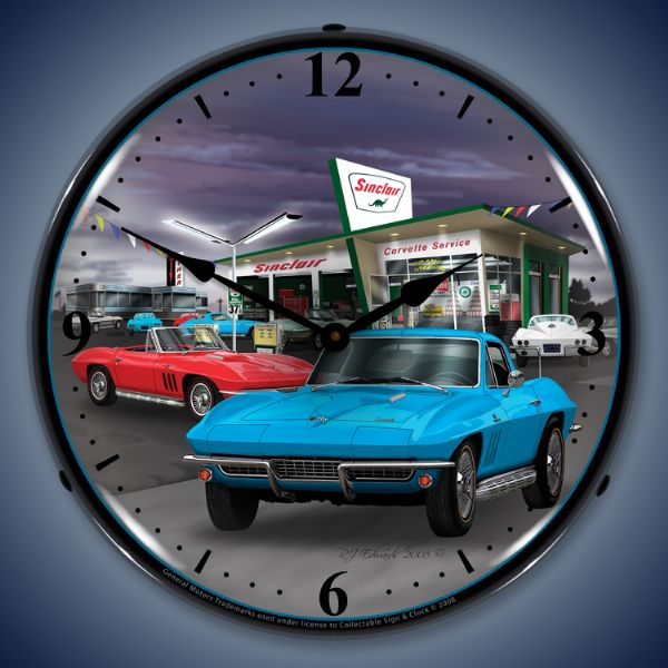 1966 Corvette Sinclair Gas Station Lighted Clock