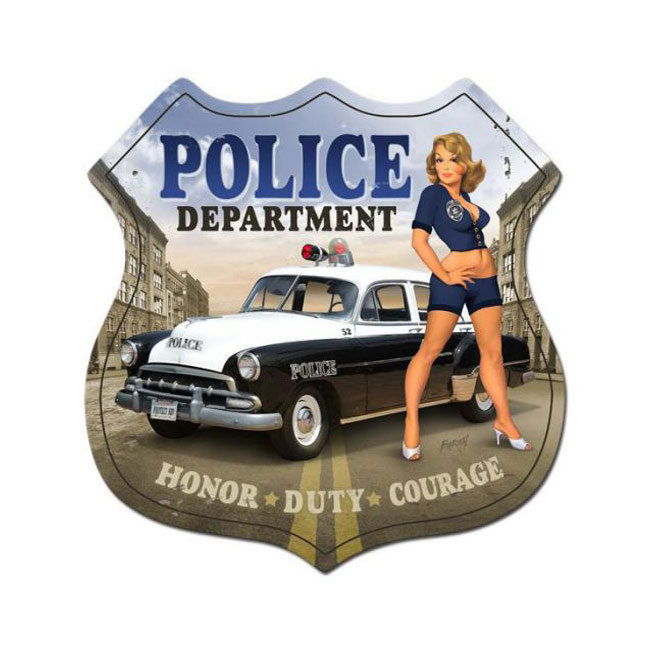 Police Department Pin Up Girl Sign