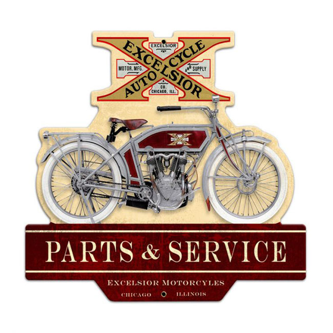 Excelsior Motorcycle Parts & Service Sign