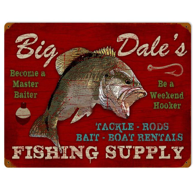 Big Dale's Fishing Supply Personalized Sign
