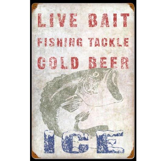 Live bait vintage sign fishing signs vintage garage for Vintage fishing signs