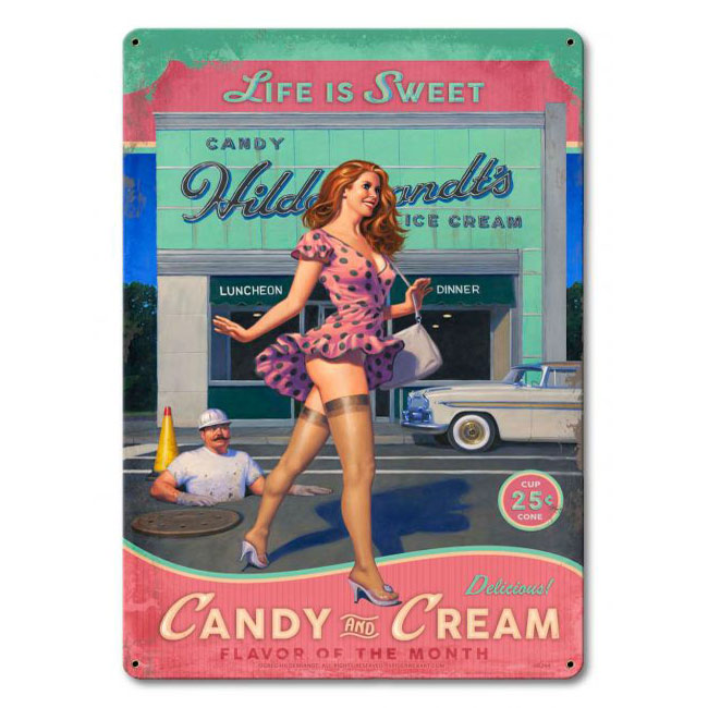 Candy & Cream Pin Up Girl Sign