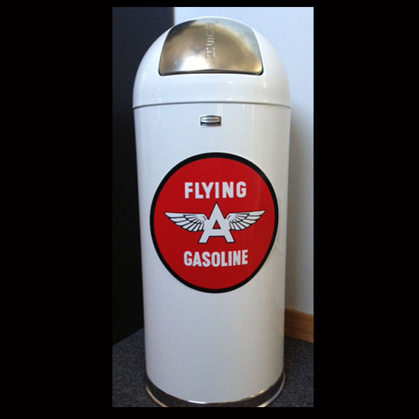 Retro Style Bullet Trash Can- Flying A Gasoline