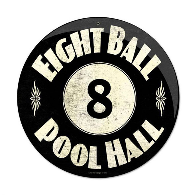 8 Ball Pool Hall Round Sign