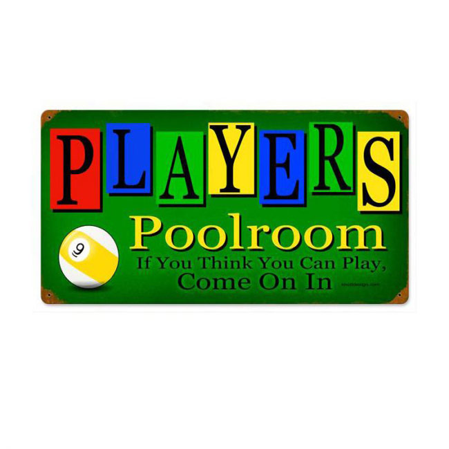 Players Poolroom Sign