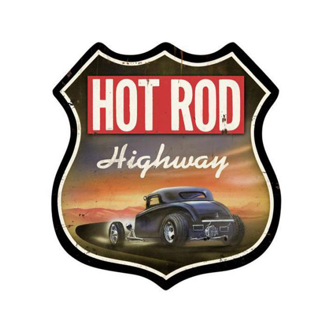 Hot Rod Highway Shield Sign