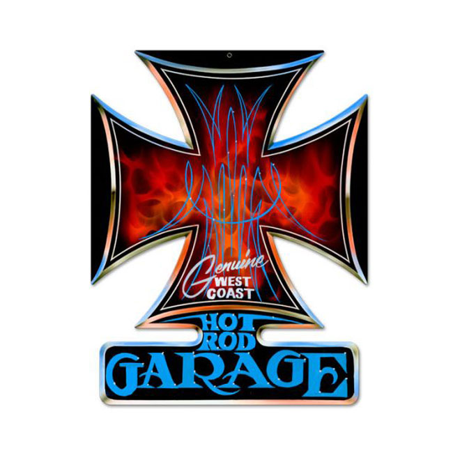 Hot Rod Garage Iron Cross Sign