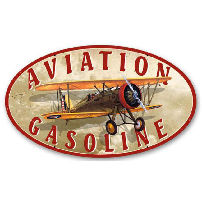 Aviation Gasoline Oval Sign
