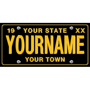 Large Black Personalized License Plate