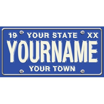 Large Blue Personalized License Plate