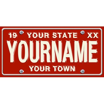 Large Red Personalized License Plate