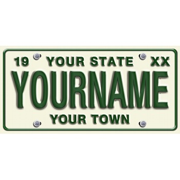 Large White Personalized License Plate