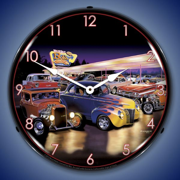 Burger Bob's Hot Rod Lighted Clock