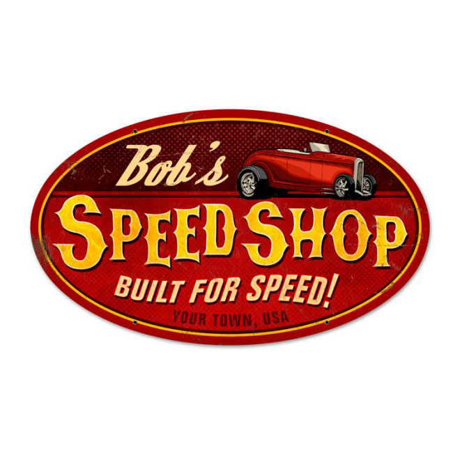 Personalized Speed Shop Oval Sign