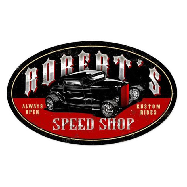 Late Night Speed Shop Personalized Oval Sign