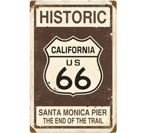 Historic Route 66 California Santa Monica Pier Sign