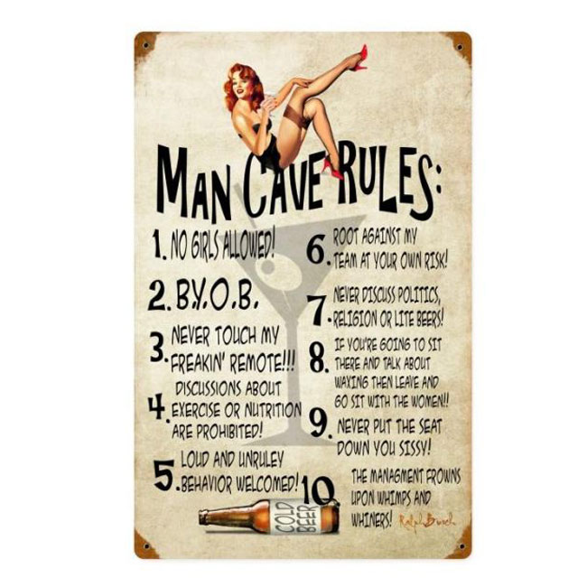 Funny Man Cave Rules Vintage Sign
