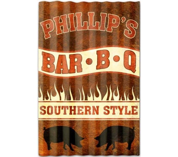 Phillip's BBQ Southern Style Corrugated Sign