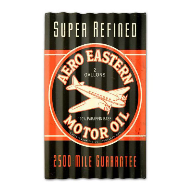 Aero Eastern Motor Oil Corrugated Sign