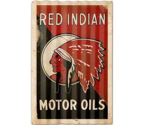 Red Indian Motor Oils Vintage Corrugated Sign