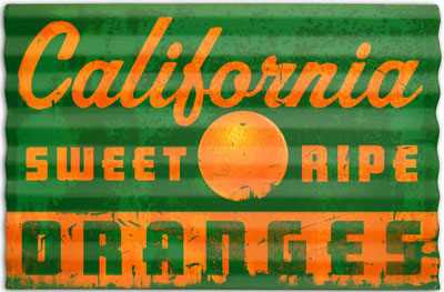 California Oranges Corrugated Garage Sign