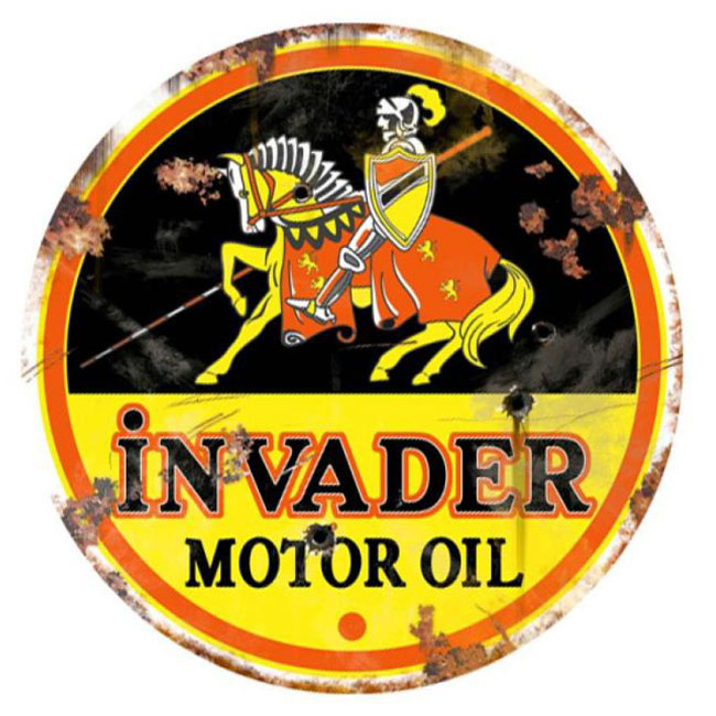 Invader Motor Oil Vintage Sign