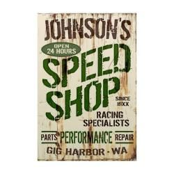 Personalized Speed Shop Corrugated Sign