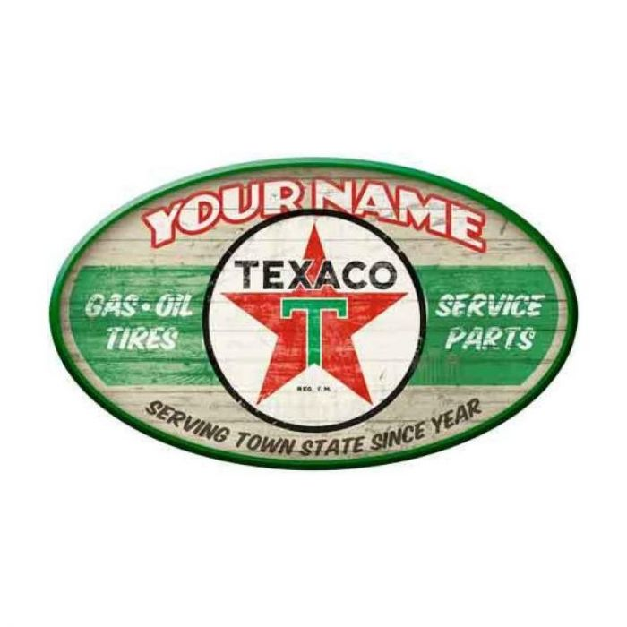 Texaco Gasoline Service Station Oval Personalized Sign