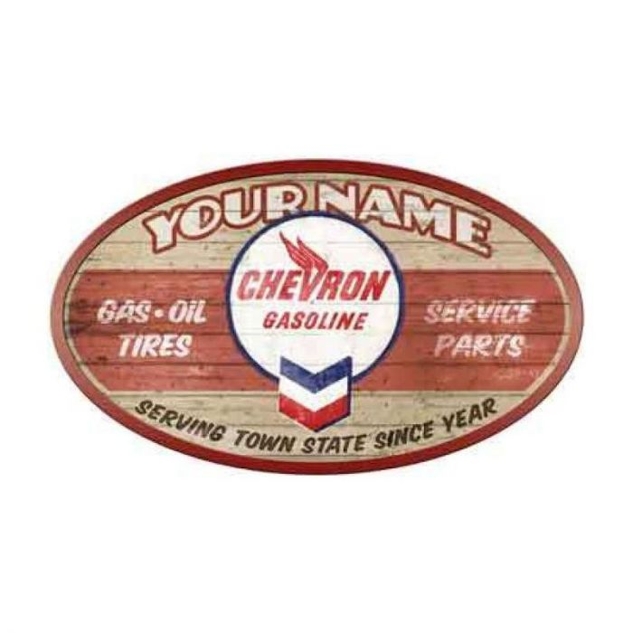 Chevron Gasoline Personalized Garage Sign