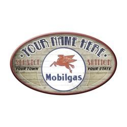 Mobil Station Oval Personalized Sign