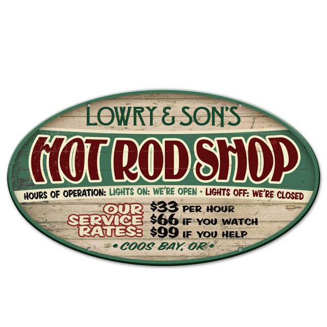 5bc894489445c Hot Rod Shop Personalized Garage Sign