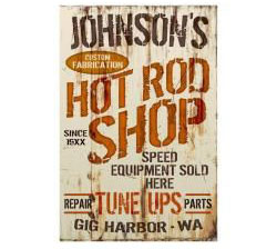 Corrugated Hot Rod Shop Personalized Sign