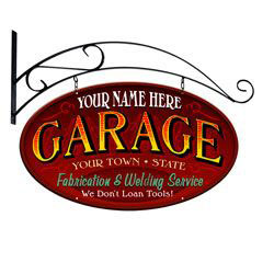 Double Sided Personalized Garage Sign