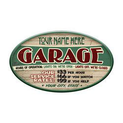 Garage Rates Personalized Sign