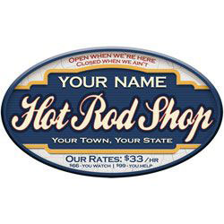 Hot Rod Shop Personalized Garage Sign