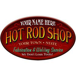 Hot Rod Shop Personalized Sign
