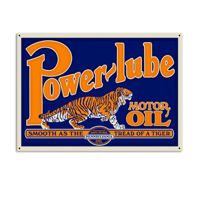 Powerlube Motor Oil Satin Style Sign