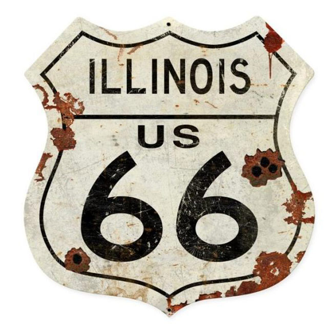 Illinois Route 66 Shield Sign