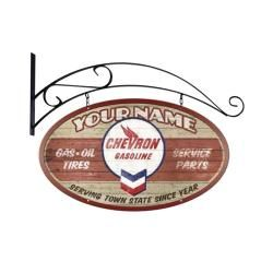 Chevron Gasoline Hanging Personalized Sign