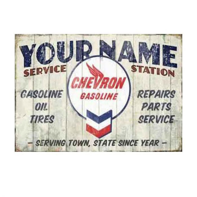Chevron Service Station Personalized Sign