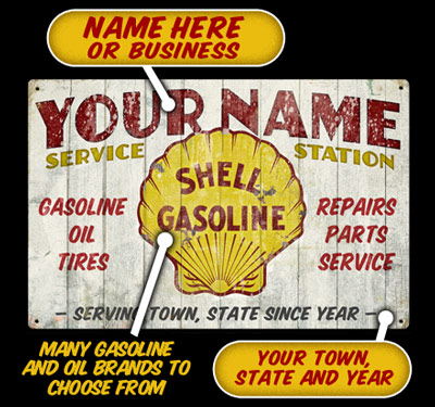 Shell Service Station Personalized Sign
