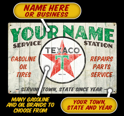 Texaco Service Station Personalized Sign