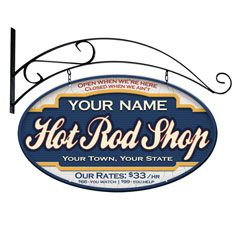 Hot Rod Shop Double Sided Personalized Sign