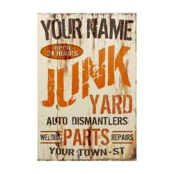 Personalized Junk Yard Corrugated Sign