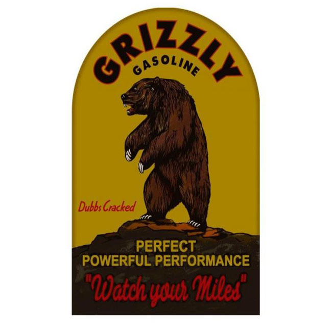 Grizzly Gasoline Old Gas Station Sign