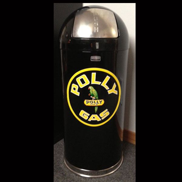 Black Polly Gas Retro Style Trash Can