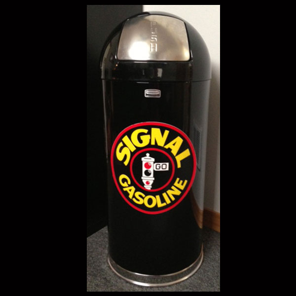 Black Retro Style Trash Can - Signal Gasoline